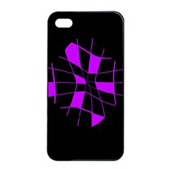 Purple abstract flower Apple iPhone 4/4s Seamless Case (Black)