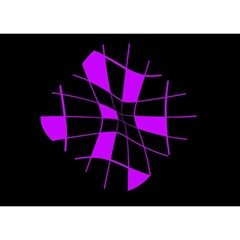 Purple Abstract Flower Birthday Cake 3d Greeting Card (7x5)