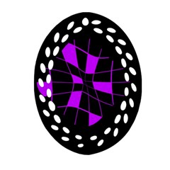 Purple abstract flower Oval Filigree Ornament (2-Side)