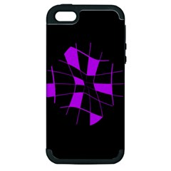 Purple abstract flower Apple iPhone 5 Hardshell Case (PC+Silicone)