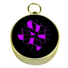 Purple abstract flower Gold Compasses