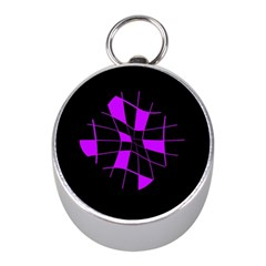 Purple abstract flower Mini Silver Compasses