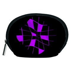 Purple abstract flower Accessory Pouches (Medium)
