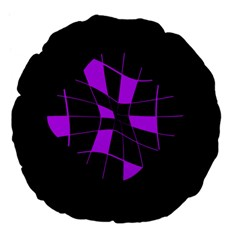 Purple abstract flower Large 18  Premium Flano Round Cushions