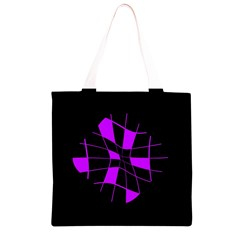 Purple abstract flower Grocery Light Tote Bag