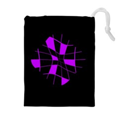 Purple abstract flower Drawstring Pouches (Extra Large)