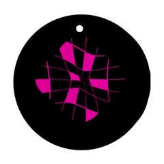 Pink abstract flower Ornament (Round)