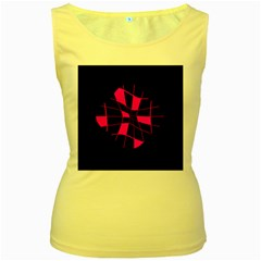 Pink abstract flower Women s Yellow Tank Top