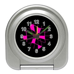 Pink abstract flower Travel Alarm Clocks