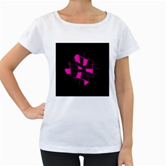 Pink abstract flower Women s Loose-Fit T-Shirt (White)