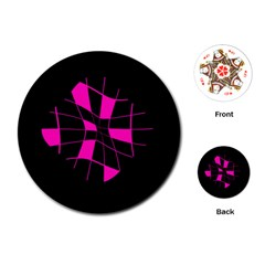 Pink abstract flower Playing Cards (Round)