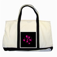 Pink abstract flower Two Tone Tote Bag
