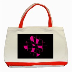 Pink abstract flower Classic Tote Bag (Red)