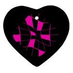 Pink abstract flower Heart Ornament (2 Sides) Back