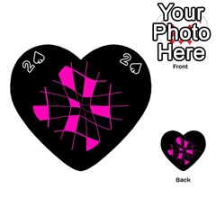 Pink Abstract Flower Playing Cards 54 (heart)