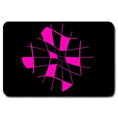 Pink abstract flower Large Doormat