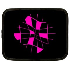 Pink abstract flower Netbook Case (Large)