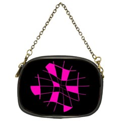 Pink abstract flower Chain Purses (One Side)