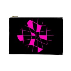 Pink abstract flower Cosmetic Bag (Large)
