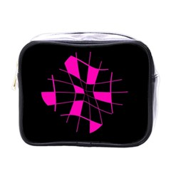 Pink abstract flower Mini Toiletries Bags