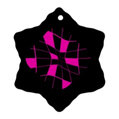 Pink abstract flower Snowflake Ornament (2-Side)
