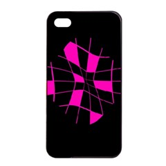 Pink abstract flower Apple iPhone 4/4s Seamless Case (Black)