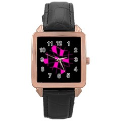 Pink abstract flower Rose Gold Leather Watch