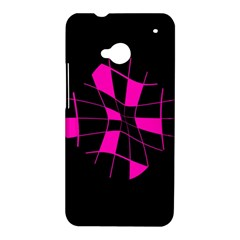 Pink abstract flower HTC One M7 Hardshell Case