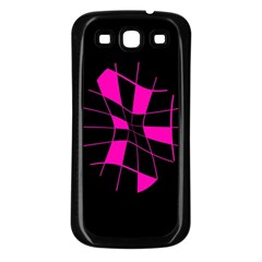 Pink abstract flower Samsung Galaxy S3 Back Case (Black)