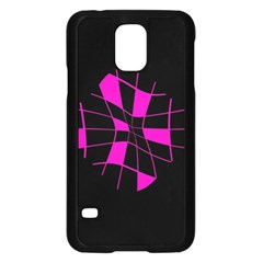 Pink abstract flower Samsung Galaxy S5 Case (Black)