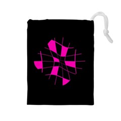 Pink abstract flower Drawstring Pouches (Large)