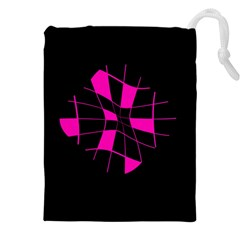 Pink abstract flower Drawstring Pouches (XXL)