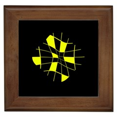Yellow abstract flower Framed Tiles