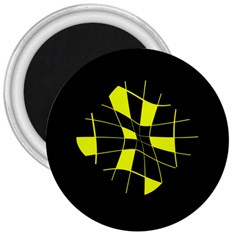 Yellow abstract flower 3  Magnets