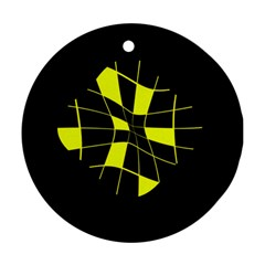 Yellow abstract flower Ornament (Round)