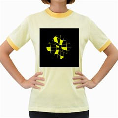 Yellow abstract flower Women s Fitted Ringer T-Shirts