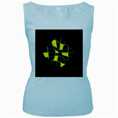 Yellow abstract flower Women s Baby Blue Tank Top