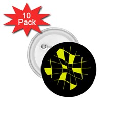 Yellow abstract flower 1.75  Buttons (10 pack)