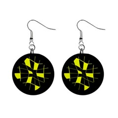 Yellow abstract flower Mini Button Earrings