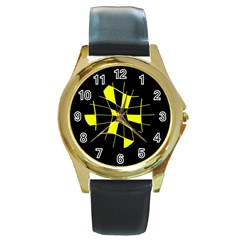 Yellow abstract flower Round Gold Metal Watch