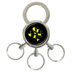 Yellow abstract flower 3-Ring Key Chains