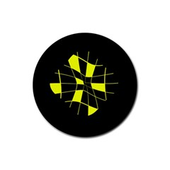 Yellow abstract flower Rubber Round Coaster (4 pack)