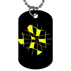 Yellow abstract flower Dog Tag (One Side)