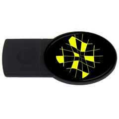 Yellow abstract flower USB Flash Drive Oval (2 GB)