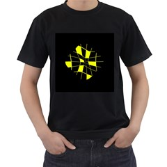 Yellow abstract flower Men s T-Shirt (Black) (Two Sided)