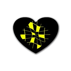 Yellow abstract flower Heart Coaster (4 pack)