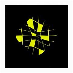 Yellow abstract flower Medium Glasses Cloth