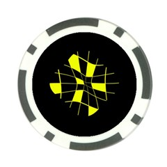 Yellow abstract flower Poker Chip Card Guards