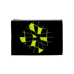 Yellow abstract flower Cosmetic Bag (Medium)