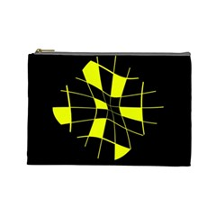 Yellow abstract flower Cosmetic Bag (Large)